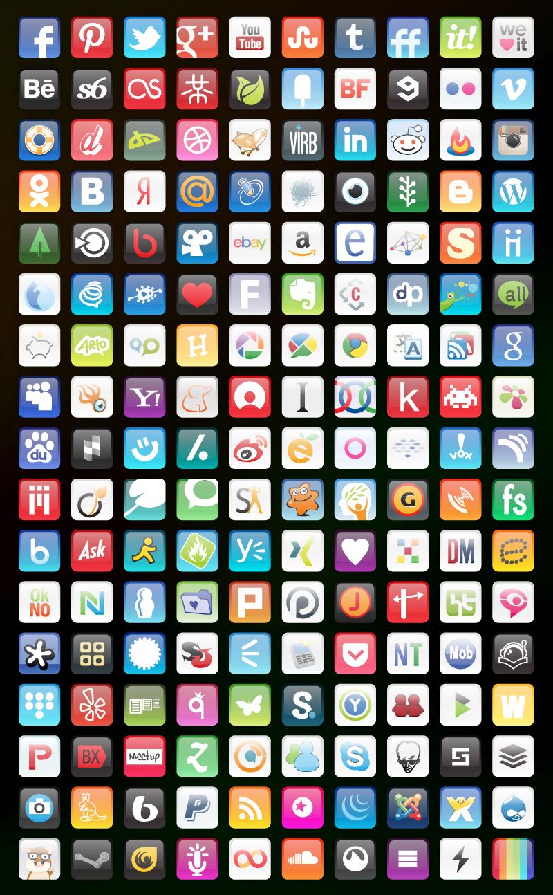 Glossy round corners icons