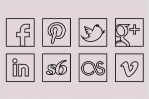 social media icons black line icons set preview