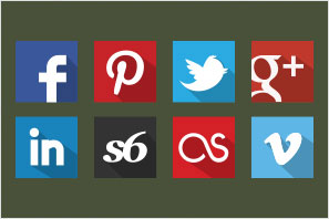 social media icons flat shadow set preview