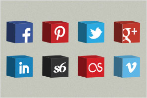 social media icons cube set preview