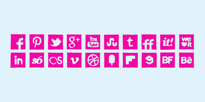 social media icons ink pen icons set