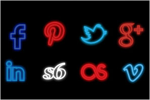 social media icons neon set preview