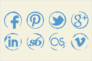 social media icons stamp icons set preview