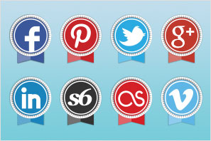 social media icons round ribbon icons set preview