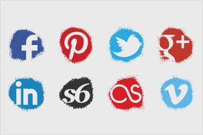 social media icons spray colour icons set preview