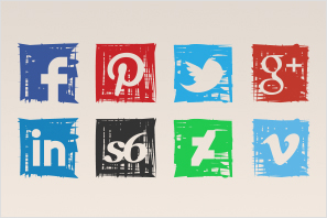social media icons marker sketch icons set preview