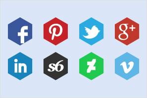 polygon social media icons set preview