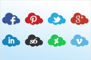 social media icons clouds set preview