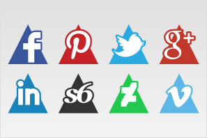 social media icons triangle set preview