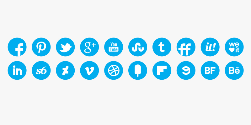 social media round icons blue color set