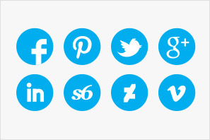 social media round icons blue colour set preview