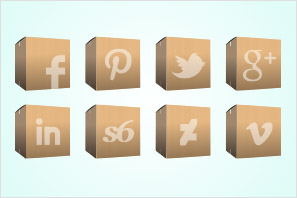 carton boxes social media icons set preview