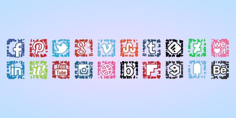 Abstract social media icons