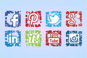 social media abstract lines icons preview