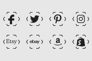 Technical polygon corners transparent background basic social icons black color preview