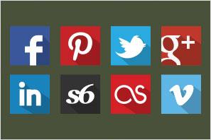 social media icons flat shadow set preview