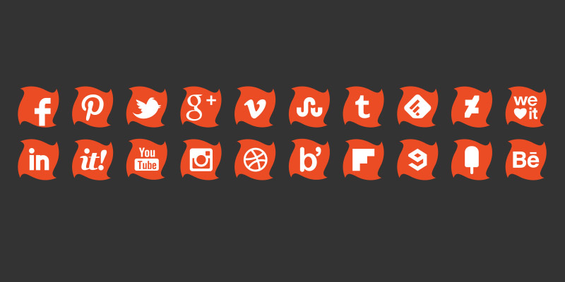Social icons orange colour