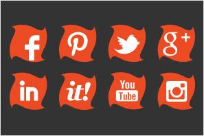 social media icons orange twist preview