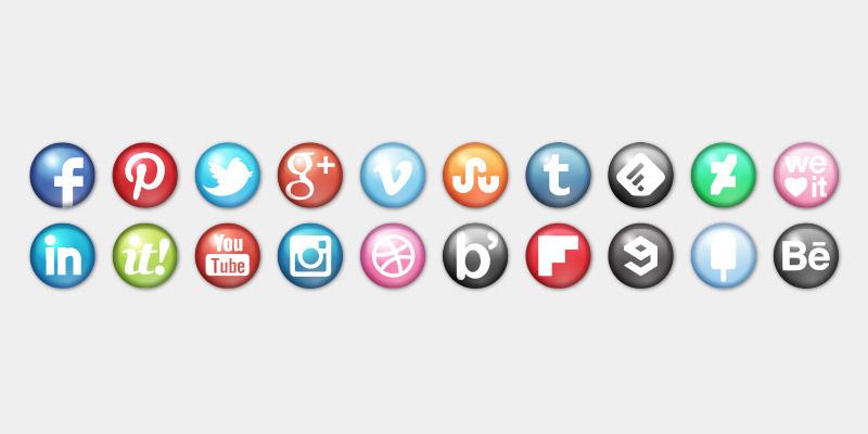 glossy social icons